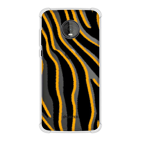 Zebra - Mustard, White And Black Brushed Stripes Hair Effect Soft Flex Tpu Case For Motorola Moto Z4