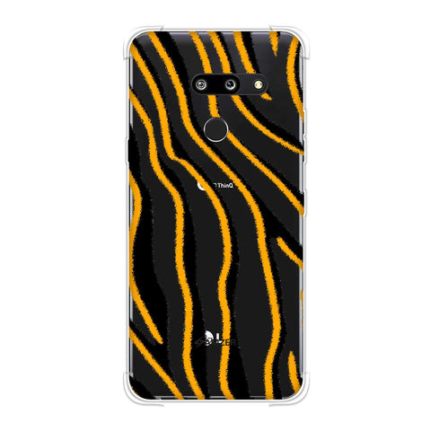 Zebra - Mustard, Pink And Black Brushed Stripes Hair Effect Soft Flex Tpu Case For LG G8 ThinQ