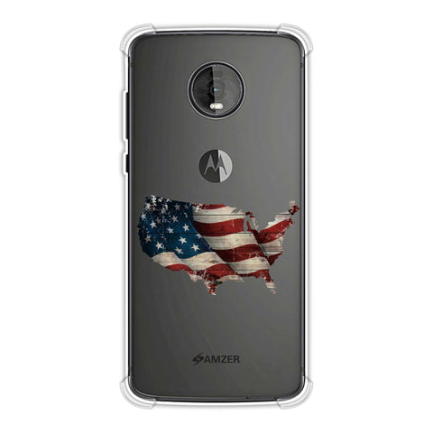 USA Flag Cutout Soft Flex Tpu Case For Motorola Moto Z4