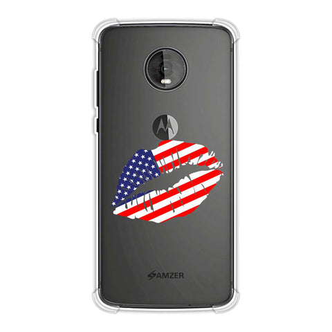 USA Flag - Kiss Mark Soft Flex Tpu Case For Motorola Moto Z4