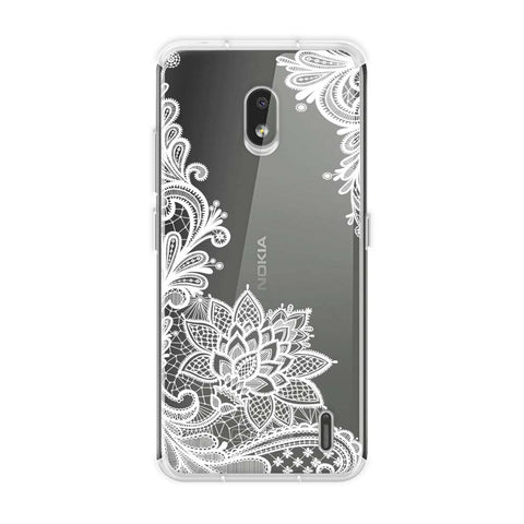 Floral Pattern B/W Soft Flex Tpu Case For Nokia 2.2