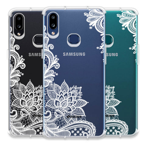 Floral Pattern B/W Soft Flex Tpu Case For Samsung Galaxy A10s