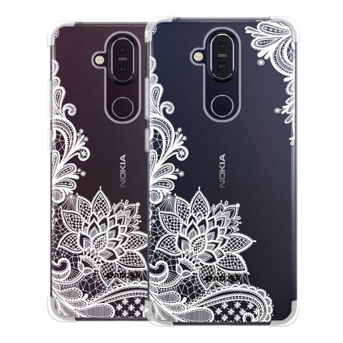 Floral Pattern B/W Soft Flex Tpu Case For Nokia 8.1