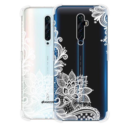 Floral Pattern B/W Soft Flex Tpu Case For Oppo Reno2 Z