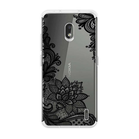 Floral Pattern B/W 1 Soft Flex Tpu Case For Nokia 2.2