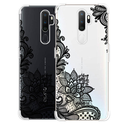Floral Pattern B/W 1 Soft Flex Tpu Case For Oppo A5 2020