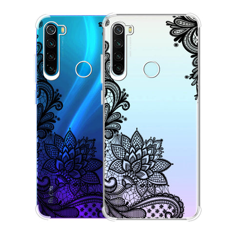 Floral Pattern B/W 1 Soft Flex Tpu Case For Redmi Note 8