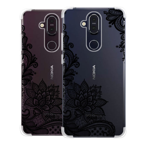 Floral Pattern B/W 1 Soft Flex Tpu Case For Nokia 8.1