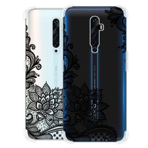 Floral Pattern B/W 1 Soft Flex Tpu Case For Oppo Reno2 Z