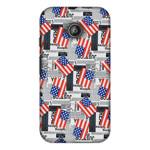 Usa Flags Slim Hard Shell Case For Motorola Moto E 2nd Gen