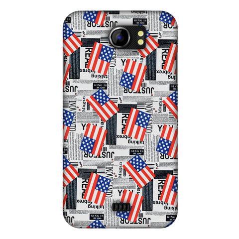 Usa Flags Slim Hard Shell Case For Micromax Canvas 2 A110