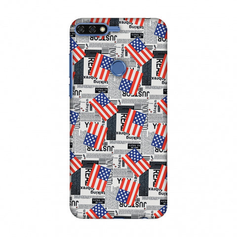 Usa Flags Slim Hard Shell Case For Huawei Honor 7C