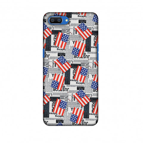 Usa Flags Slim Hard Shell Case For Oppo Realme C1