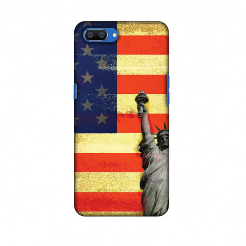 Rustic Liberty US Flag Slim Hard Shell Case For Oppo Realme C1