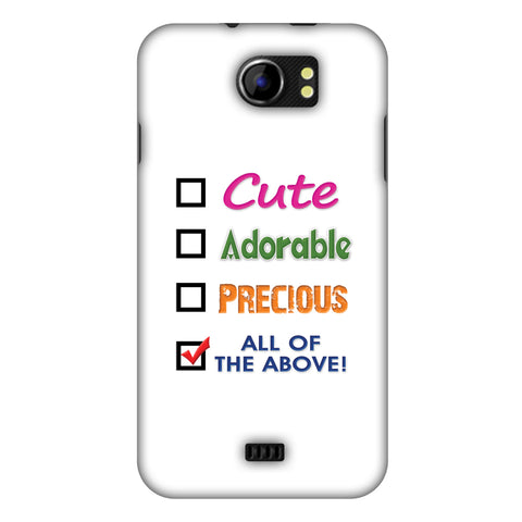 Cute Slim Hard Shell Case For Micromax Canvas 2 A110