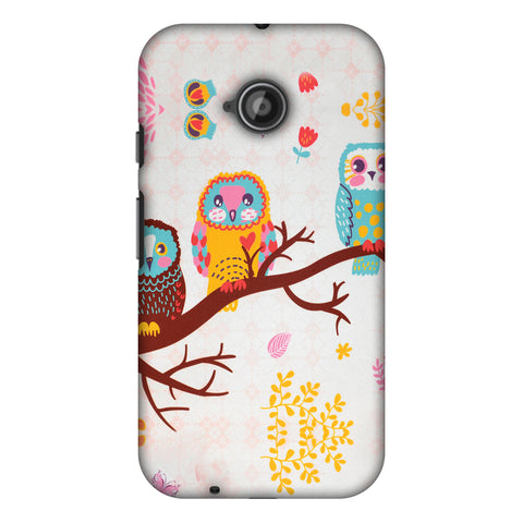 Owls On Branch Slim Hard Shell Case For Motorola Moto E 2nd Gen
