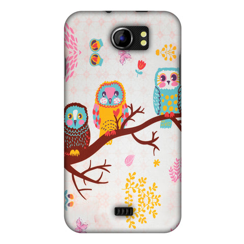 Owls On Branch Slim Hard Shell Case For Micromax Canvas 2 A110