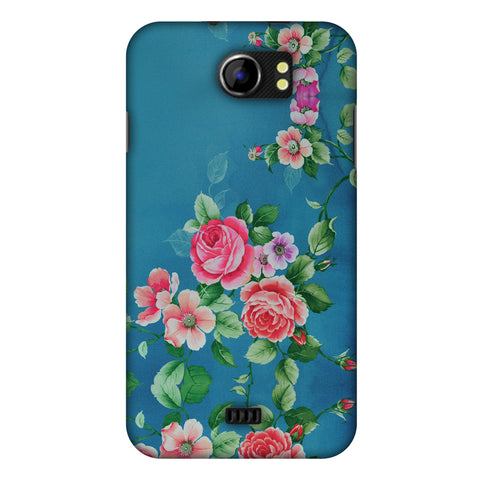 Rose Print Provencal Slim Hard Shell Case For Micromax Canvas 2 A110