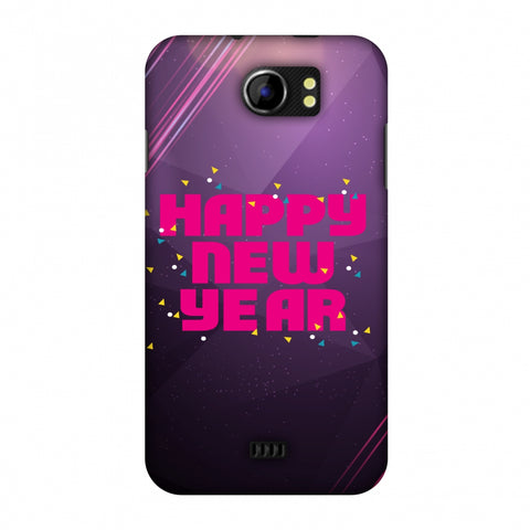 Happy New Year Slim Hard Shell Case For Micromax Canvas 2 A110