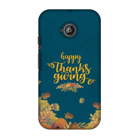 Thanksgiving Floral Pattern Slim Hard Shell Case For Motorola Moto E 2nd Gen