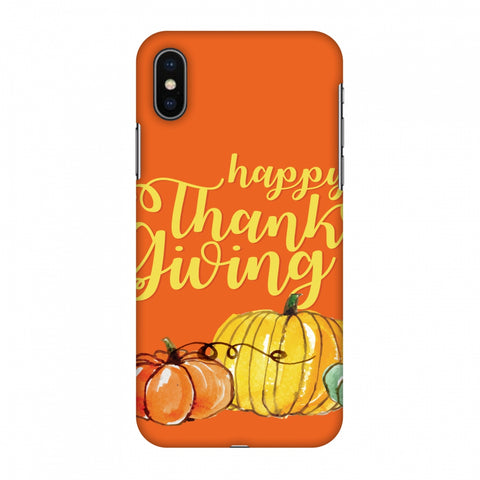 Thanksgiving Pumpkin Pattern Slim Hard Shell Case For Apple iPhone X