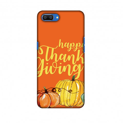 Thanksgiving Pumpkin Pattern Slim Hard Shell Case For Oppo Realme C1