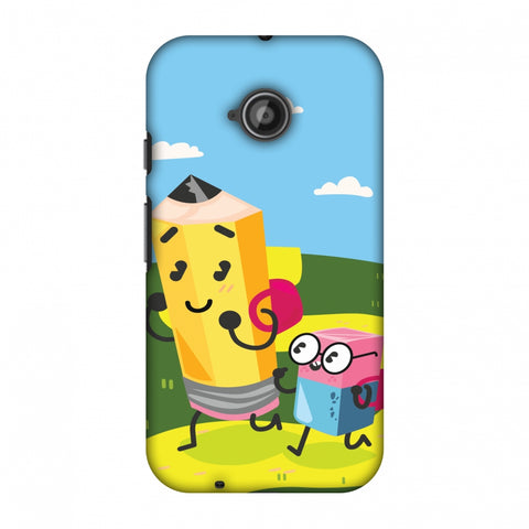Cute Pencil & Eraser Slim Hard Shell Case For Motorola Moto E 2nd Gen
