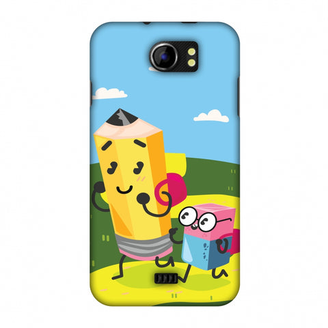 Cute Pencil & Eraser Slim Hard Shell Case For Micromax Canvas 2 A110