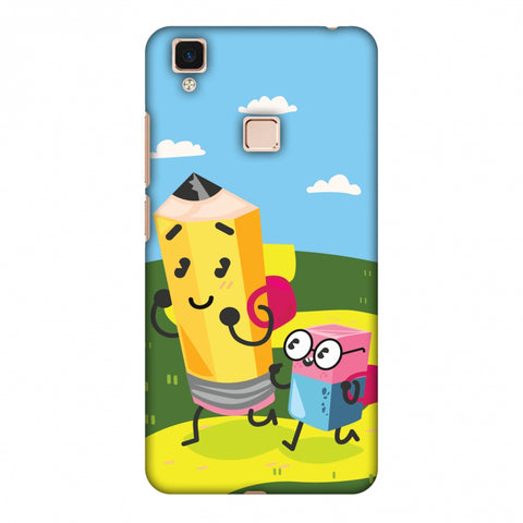 Cute Pencil & Eraser Slim Hard Shell Case For Vivo V3 Max