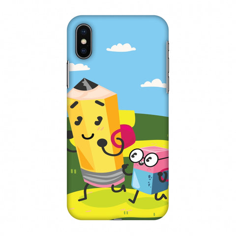 Cute Pencil & Eraser Slim Hard Shell Case For Apple iPhone X