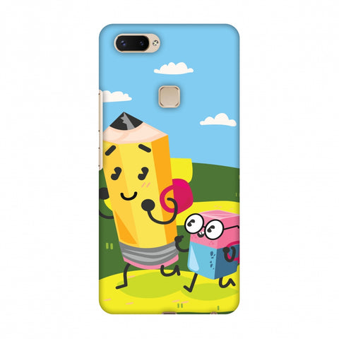 Cute Pencil & Eraser Slim Hard Shell Case For Vivo X20 Plus
