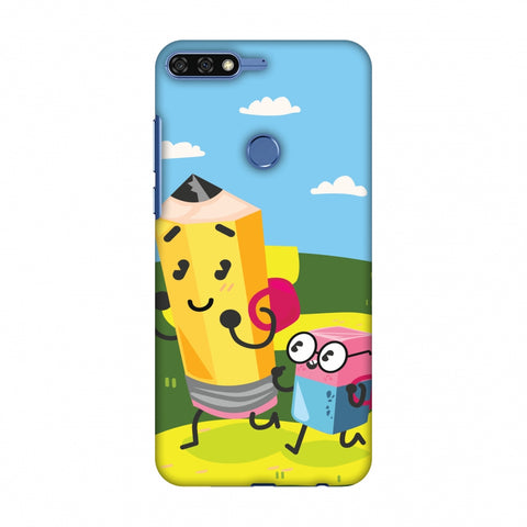 Cute Pencil & Eraser Slim Hard Shell Case For Huawei Honor 7C