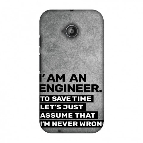 Proud To Be A Engineer 3 Slim Hard Shell Case For Motorola Moto E 2nd Gen