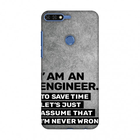 Proud To Be A Engineer 3 Slim Hard Shell Case For Huawei Honor 7C