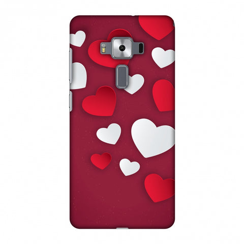 Red & White Hearts Slim Hard Shell Case For Asus Zenfone 3 Deluxe ZS570KL