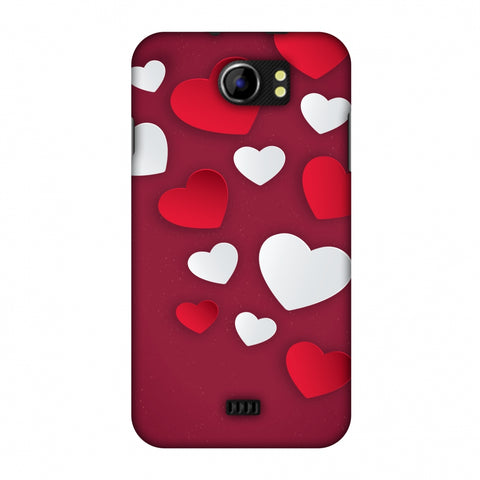 Red & White Hearts Slim Hard Shell Case For Micromax Canvas 2 A110