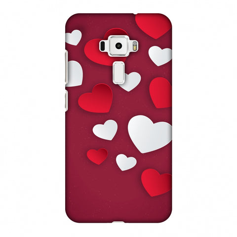 Red & White Hearts Slim Hard Shell Case For Asus Zenfone 3 ZE520KL