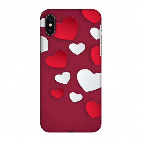 Red & White Hearts Slim Hard Shell Case For Apple iPhone X