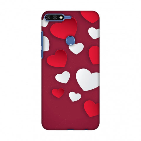 Red & White Hearts Slim Hard Shell Case For Huawei Honor 7C