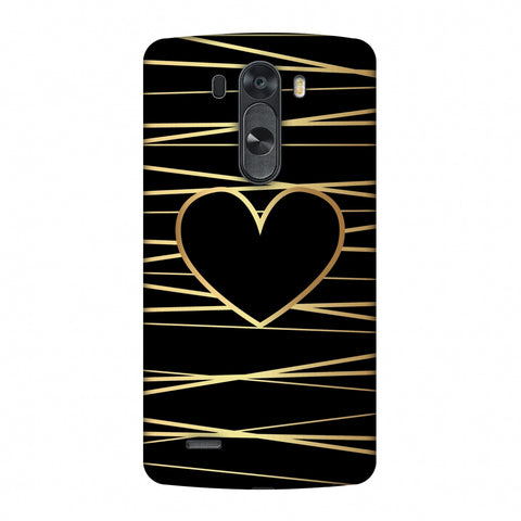 Golden Heart Ribbon Slim Hard Shell Case For LG G4