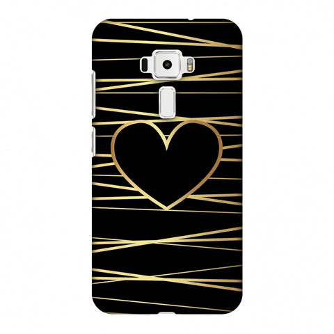 Golden Heart Ribbon Slim Hard Shell Case For Asus Zenfone 3 ZE520KL
