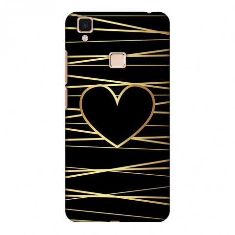 Golden Heart Ribbon Slim Hard Shell Case For Vivo V3 Max