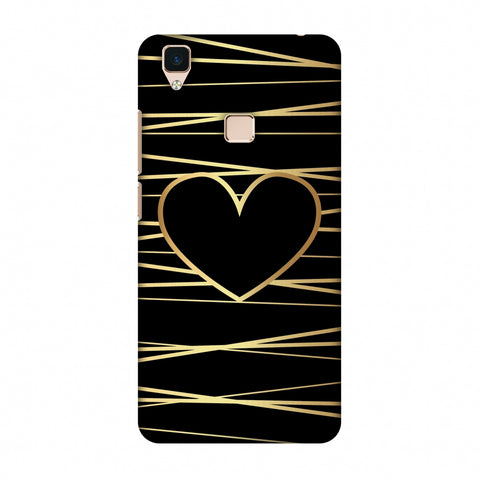 Golden Heart Ribbon Slim Hard Shell Case For Vivo V3