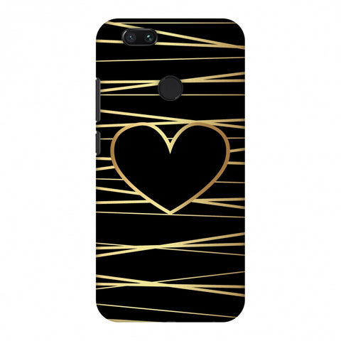 Golden Heart Ribbon Slim Hard Shell Case For Xiaomi MI A1-5X