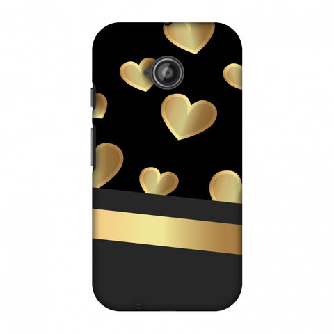 Golden Hearts Slim Hard Shell Case For Motorola Moto E 2nd Gen