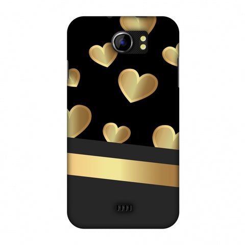 Golden Hearts Slim Hard Shell Case For Micromax Canvas 2 A110