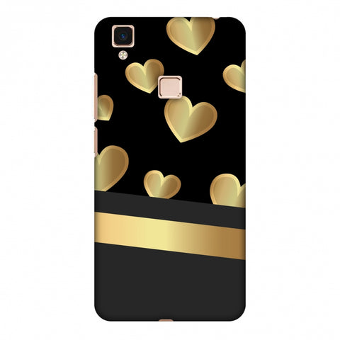 Golden Hearts Slim Hard Shell Case For Vivo V3 Max