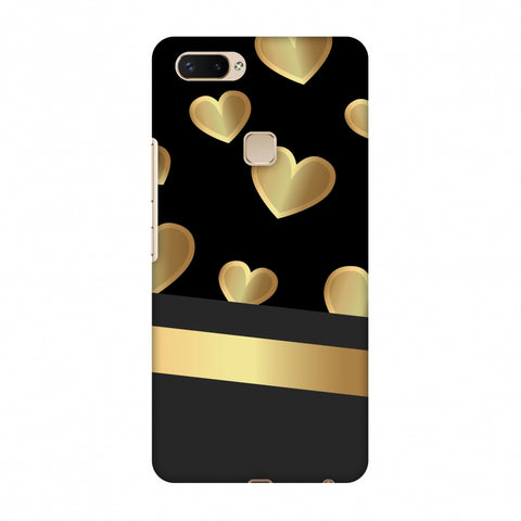 Golden Hearts Slim Hard Shell Case For Vivo X20 Plus