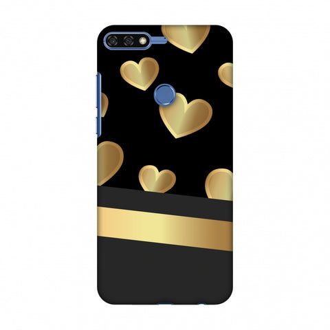 Golden Hearts Slim Hard Shell Case For Huawei Honor 7C