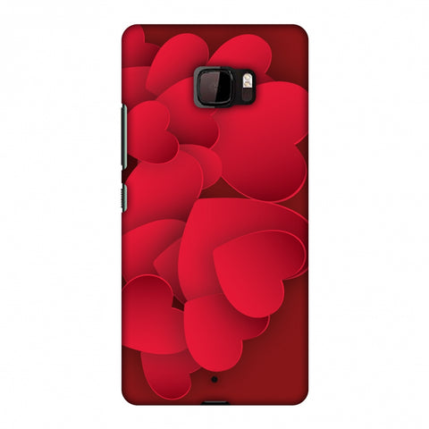 Red Hearts Slim Hard Shell Case For HTC U Ultra